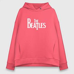 Толстовка оверсайз женская The Beatles цвета коралловый — фото 1
