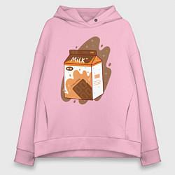 Толстовка оверсайз женская Коробка шоколадного молока цвета светло-розовый — фото 1