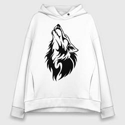 Толстовка оверсайз женская Воющий волк цвета белый — фото 1