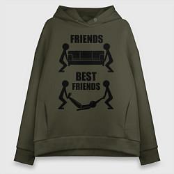 Толстовка оверсайз женская Best friends цвета хаки — фото 1