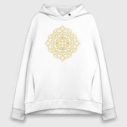Толстовка оверсайз женская Золотой цветок цвета белый — фото 1