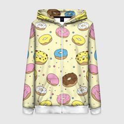 Толстовка на молнии женская Сладкие пончики цвета 3D-белый — фото 1