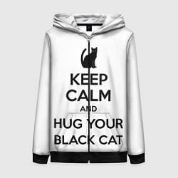 Толстовка на молнии женская Обними своего черного кота цвета 3D-черный — фото 1