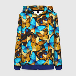 Толстовка на молнии женская Бабочки цвета 3D-синий — фото 1
