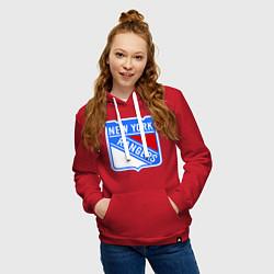 Толстовка-худи хлопковая женская New York Rangers цвета красный — фото 2