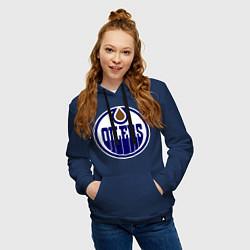 Толстовка-худи хлопковая женская Edmonton Oilers цвета тёмно-синий — фото 2