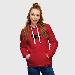 Толстовка-худи хлопковая женская TFK: Black Logo цвета красный — фото 2
