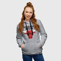 Толстовка-худи хлопковая женская Chicago Bulls цвета меланж — фото 2