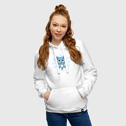 Толстовка-худи хлопковая женская Happy Kitty цвета белый — фото 2