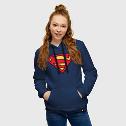 Толстовка-худи хлопковая женская Superman logo цвета тёмно-синий — фото 2