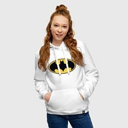 Толстовка-худи хлопковая женская Batman цвета белый — фото 2