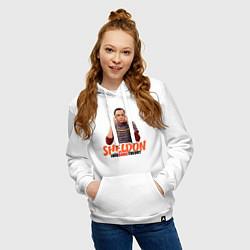 Толстовка-худи хлопковая женская Sheldon цвета белый — фото 2