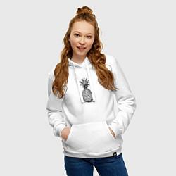 Толстовка-худи хлопковая женская Ананас Моргенштерна цвета белый — фото 2