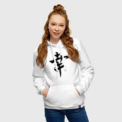 Толстовка-худи хлопковая женская Японский иероглиф Счастье цвета белый — фото 2