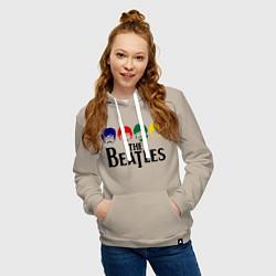 Толстовка-худи хлопковая женская The Beatles Heads цвета миндальный — фото 2
