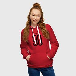 Толстовка-худи хлопковая женская Made in 90 цвета красный — фото 2