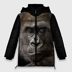 Женская зимняя 3D-куртка с капюшоном с принтом Глаза гориллы, цвет: 3D-черный, артикул: 10105697906071 — фото 1