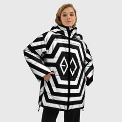 Женская зимняя 3D-куртка с капюшоном с принтом EXO Geometry, цвет: 3D-черный, артикул: 10106714006071 — фото 2