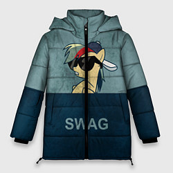 Женская зимняя 3D-куртка с капюшоном с принтом My SWAG Pony, цвет: 3D-черный, артикул: 10108221806071 — фото 1