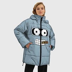 Женская зимняя 3D-куртка с капюшоном с принтом Лицо Бендера, цвет: 3D-черный, артикул: 10110983306071 — фото 2