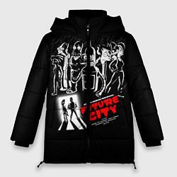 Женская зимняя 3D-куртка с капюшоном с принтом Future City, цвет: 3D-черный, артикул: 10113800306071 — фото 1