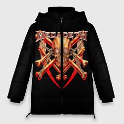 Женская зимняя 3D-куртка с капюшоном с принтом Megadeth: Gold Skull, цвет: 3D-черный, артикул: 10118375606071 — фото 1