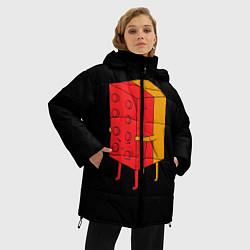 Женская зимняя 3D-куртка с капюшоном с принтом Влюбленное лего, цвет: 3D-черный, артикул: 10124114906071 — фото 2