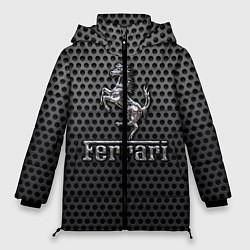 Женская зимняя 3D-куртка с капюшоном с принтом Ferrari: Metalic Style, цвет: 3D-черный, артикул: 10127269106071 — фото 1