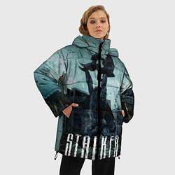 Женская зимняя 3D-куртка с капюшоном с принтом STALKER: Pripyat, цвет: 3D-черный, артикул: 10135205506071 — фото 2