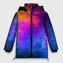Женская зимняя 3D-куртка с капюшоном с принтом Узор цвета, цвет: 3D-черный, артикул: 10135228306071 — фото 1