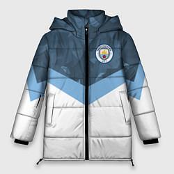 Женская зимняя 3D-куртка с капюшоном с принтом Manchester City FC: Sport, цвет: 3D-черный, артикул: 10137034906071 — фото 1