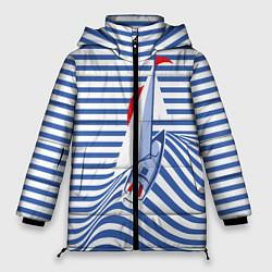 Женская зимняя 3D-куртка с капюшоном с принтом Полосатый рейс, цвет: 3D-черный, артикул: 10138860506071 — фото 1