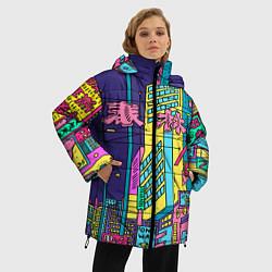 Женская зимняя 3D-куртка с капюшоном с принтом Токио сити, цвет: 3D-черный, артикул: 10139888106071 — фото 2