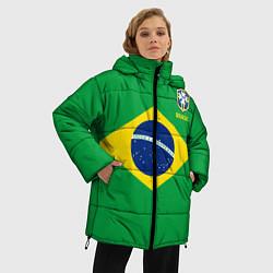 Женская зимняя 3D-куртка с капюшоном с принтом Сборная Бразилии: зеленая, цвет: 3D-черный, артикул: 10143139706071 — фото 2