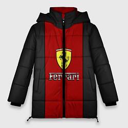 Женская зимняя 3D-куртка с капюшоном с принтом Ferrari: Sport Line, цвет: 3D-черный, артикул: 10147188706071 — фото 1