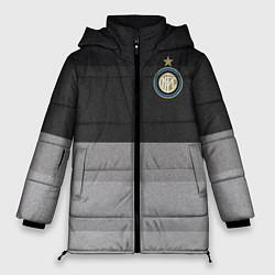 Женская зимняя 3D-куртка с капюшоном с принтом ФК Интер: Серый стиль, цвет: 3D-черный, артикул: 10148313906071 — фото 1