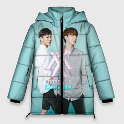 Женская зимняя 3D-куртка с капюшоном с принтом Shownu & Kihyun, цвет: 3D-черный, артикул: 10150036506071 — фото 1