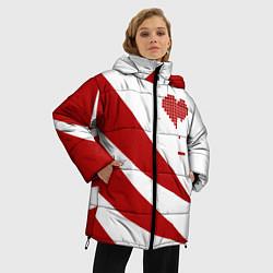 Женская зимняя 3D-куртка с капюшоном с принтом Игра в сердца, цвет: 3D-черный, артикул: 10152698106071 — фото 2