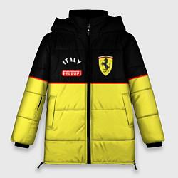 Женская зимняя 3D-куртка с капюшоном с принтом Ferrari Italy, цвет: 3D-черный, артикул: 10152731906071 — фото 1