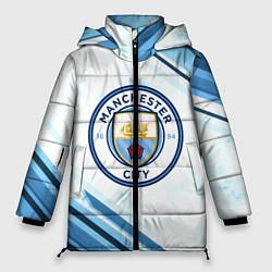 Женская зимняя 3D-куртка с капюшоном с принтом Manchester city, цвет: 3D-черный, артикул: 10154362106071 — фото 1