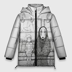 Женская зимняя 3D-куртка с капюшоном с принтом Унесенные призраками, цвет: 3D-черный, артикул: 10155884106071 — фото 1