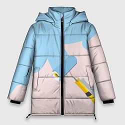 Женская зимняя 3D-куртка с капюшоном с принтом Голубая заливка, цвет: 3D-черный, артикул: 10157480706071 — фото 1