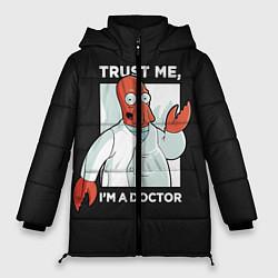 Женская зимняя 3D-куртка с капюшоном с принтом Zoidberg: Trust Me, цвет: 3D-черный, артикул: 10162272706071 — фото 1