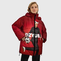 Женская зимняя 3D-куртка с капюшоном с принтом Новогодний Дзюба, цвет: 3D-черный, артикул: 10164929906071 — фото 2