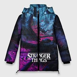 Женская зимняя 3D-куртка с капюшоном с принтом Stranger Things: Wild Wood, цвет: 3D-черный, артикул: 10167396706071 — фото 1