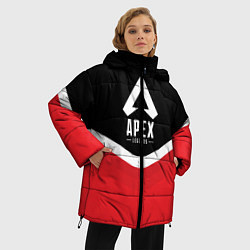 Женская зимняя 3D-куртка с капюшоном с принтом Apex Legends: Uniform, цвет: 3D-черный, артикул: 10172618906071 — фото 2