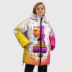 Женская зимняя 3D-куртка с капюшоном с принтом BRAWL STARS SANDY, цвет: 3D-черный, артикул: 10207900306071 — фото 2