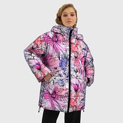 Женская зимняя 3D-куртка с капюшоном с принтом Акварельные цветы, цвет: 3D-черный, артикул: 10209760306071 — фото 2