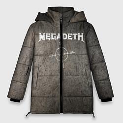 Женская зимняя 3D-куртка с капюшоном с принтом Megadeth, цвет: 3D-черный, артикул: 10211240306071 — фото 1