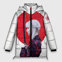 Женская зимняя 3D-куртка с капюшоном с принтом Самурай, цвет: 3D-черный, артикул: 10212752706071 — фото 1